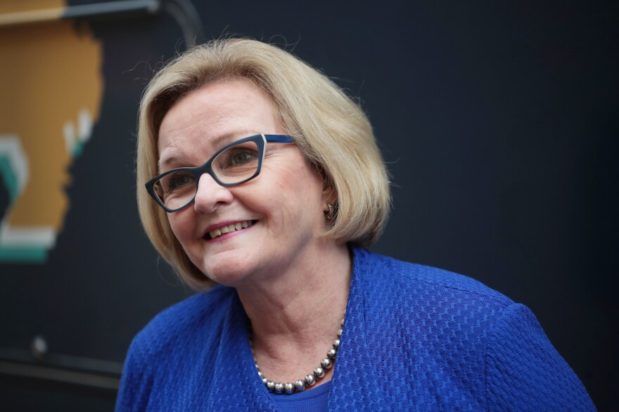 Democratic Sen. Claire McCaskill of Missouri fields questions from reporters following a campaign stop in St. Louis on Nov. 4.