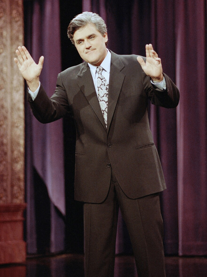Jay Leno delivers the opening monologue during the inauguration of <em>The Tonight Show with Jay Leno</em> on May 25, 1992.