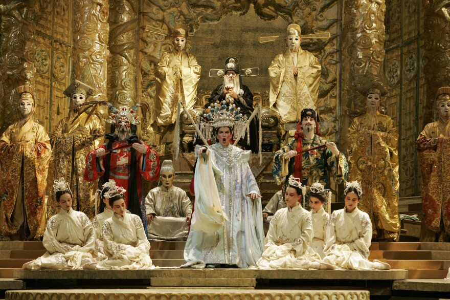Zeffirelli was known for his lavish productions. Above, Andrea Gruber performs the title role in his production of Puccini's <em>Turandot</em> in New York in March 2007.
