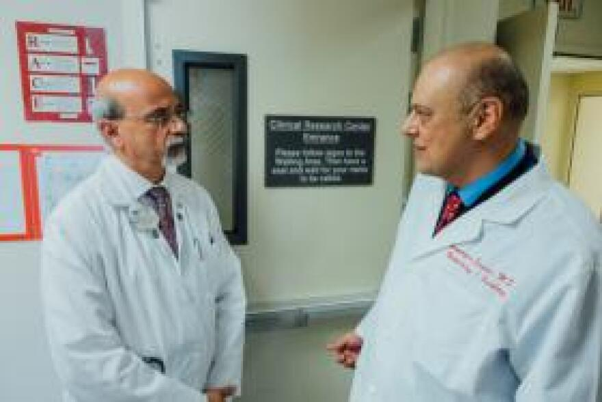 Dr. Pankaj Gupta, Chief of Hematology and Oncology for the Long Beach VA (left) and Dr. Homayoun Sanati, a staff oncologist.