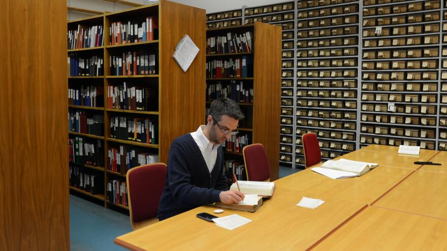Stefano Rocchi, a researcher on the <em>Thesaurus Linguae Latinae, </em>the comprehensive Latin dictionary that has been in the works since 1894 in Germany. Researchers are currently working on the letters N and R. They don't expect to finish until around 2050.