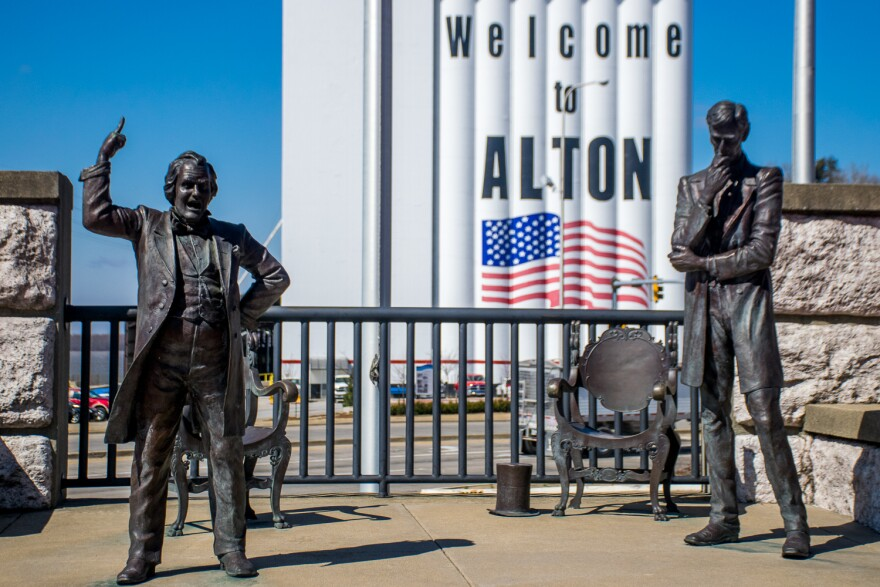 The Lincoln-Douglas Square in Alton commemorates one of the city's claims to fame. It also welcomes visitors to the town of almost 27,000 people. March 21, 2018.