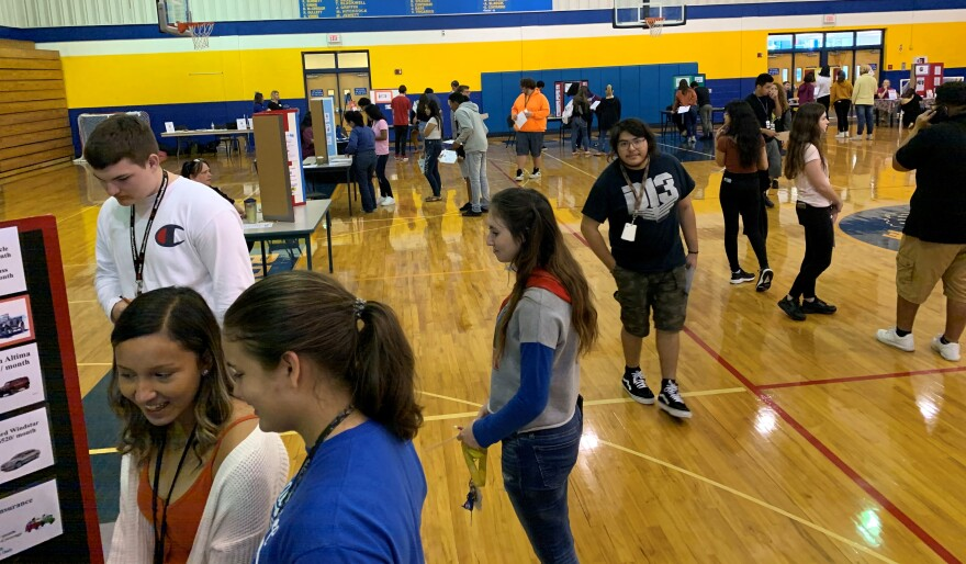 Students in the gym at Bayshore High School
