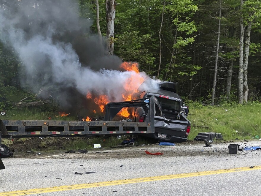 This photo provided by Miranda Thompson shows the scene where several motorcycles and a pickup truck collided on a rural, two-lane highway Friday in Randolph, N.H.