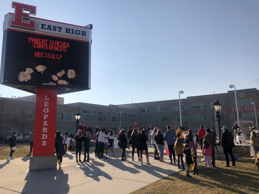 A photo of students protesting at East High School.
