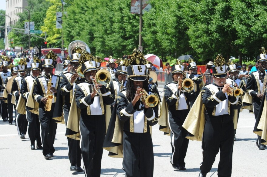 The University City High School Marching Band performs during last year's May Day parade.
