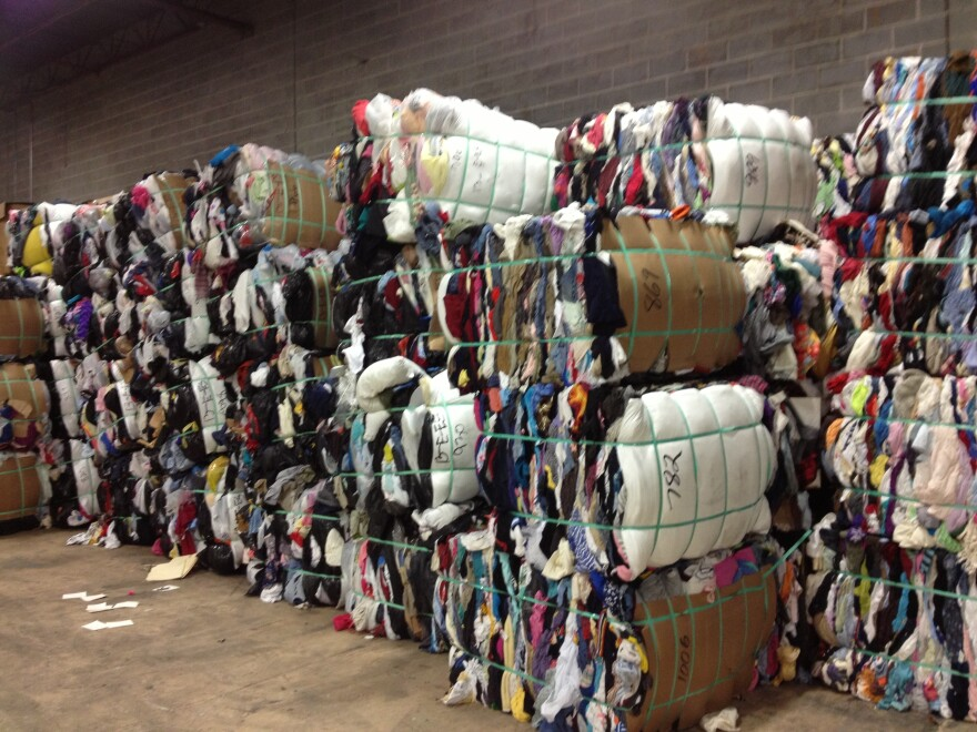 Bales of used clothing are seen at Mac Recycling near Baltimore. Textile recycling is a huge international business, and a small facility like Mac ships about 80 tons of clothes each week to buyers around the world.