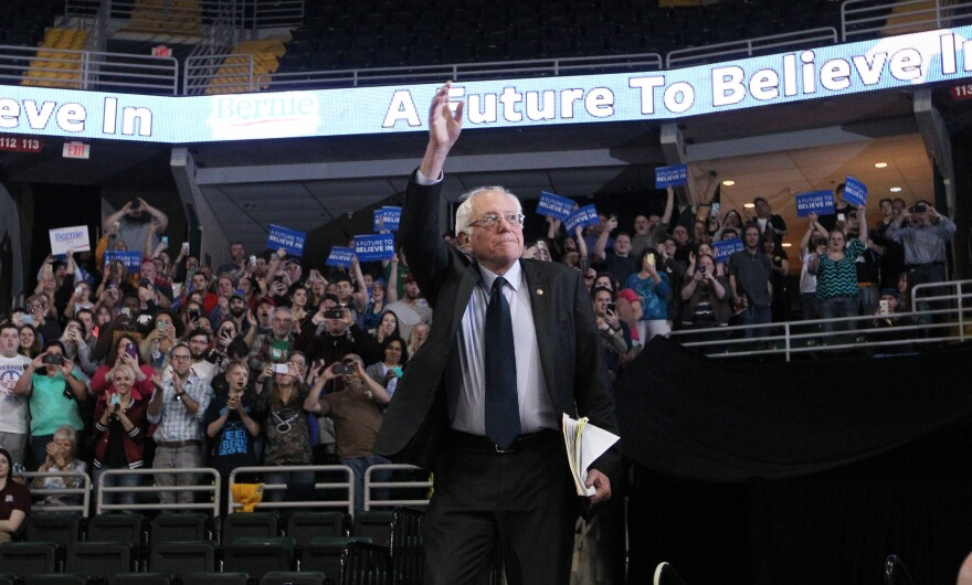 Democratic Presidential candidate Bernie Sanders waves to the crowd during a campaign stop in St. Charles on March 14, 2016.