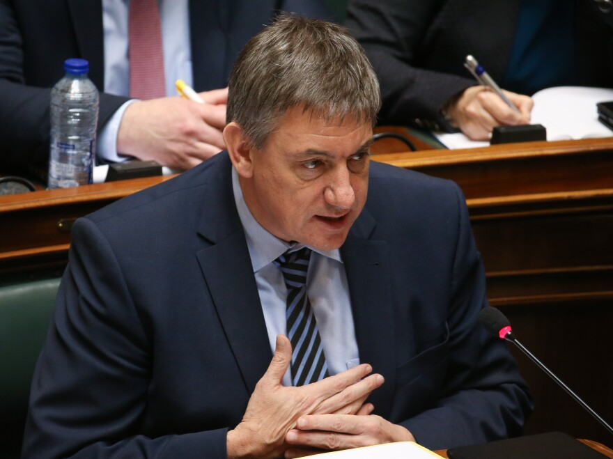 Belgium's interior minister, Jan Jambon, shown here at the parliament on Friday, offered to resign Thursday after criticism over intelligence failures.