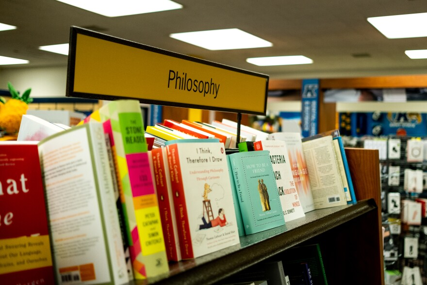 phot of books on philosophy sit on a shelf in the Kent State Bookstore, Kent State University. Kent, Ohio. Thursday, Nov. 15, 2019