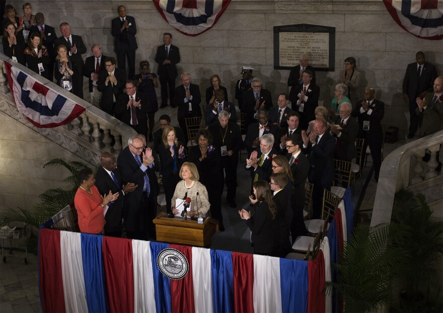 Mayor Lyda Krewson concludes her speech after being sworn in as the first woman mayor of St. Louis. (April 18, 2017)