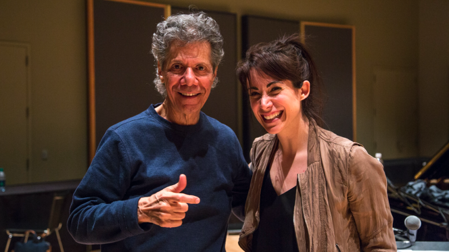 Chick Corea with World Cafe host Talia Schlanger inside a rehearsal room at Jazz at Lincoln Center in New York City.
