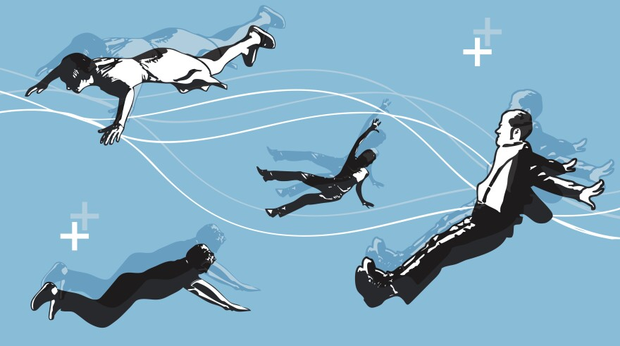 Illustration of people falling