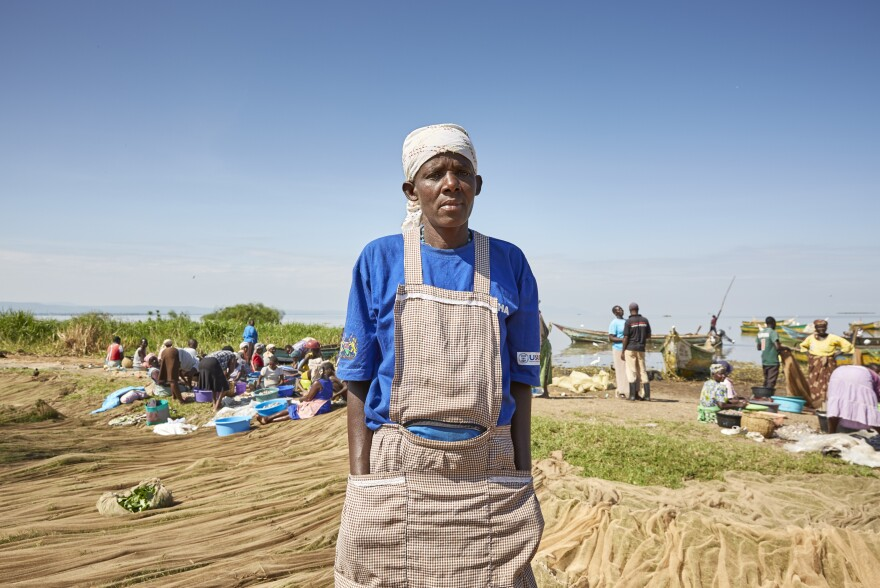 Like many women in Nduru Beach, Milka Onyango earns money to support her family by cleaning and selling fish.