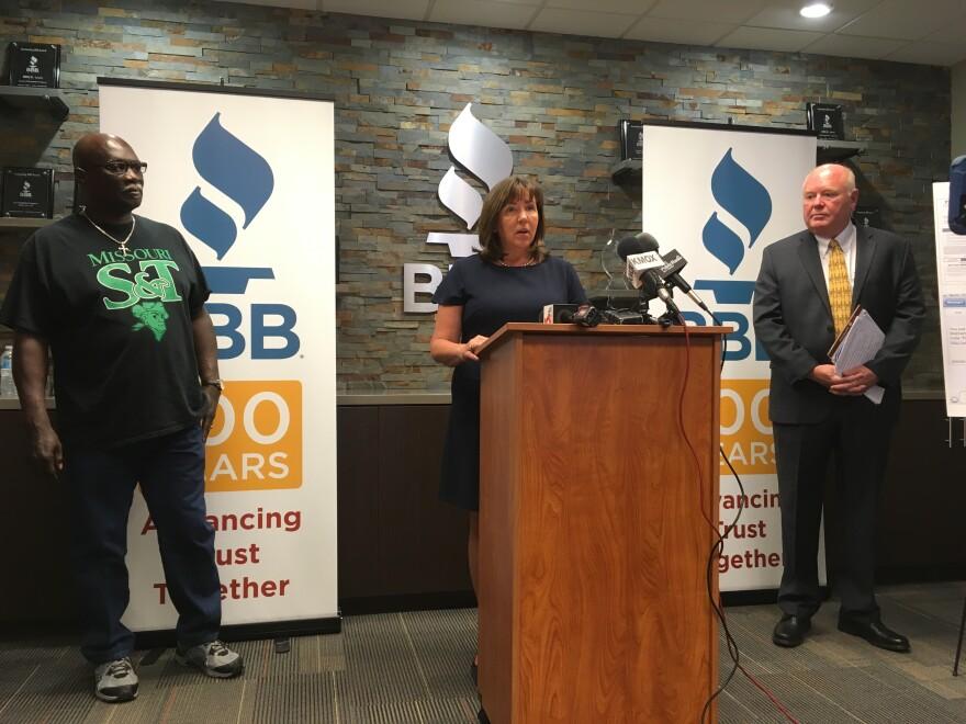 St. Louis Better Business Bureau President and CEO Michelle Corey announces publication of report on the latest scam data on June 6, 2018