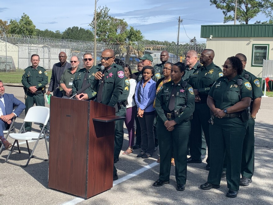 Leon County Sheriff Walt McNeil speaking during the ribbon cutting ceremony for LCSO's new re-entry facilities.