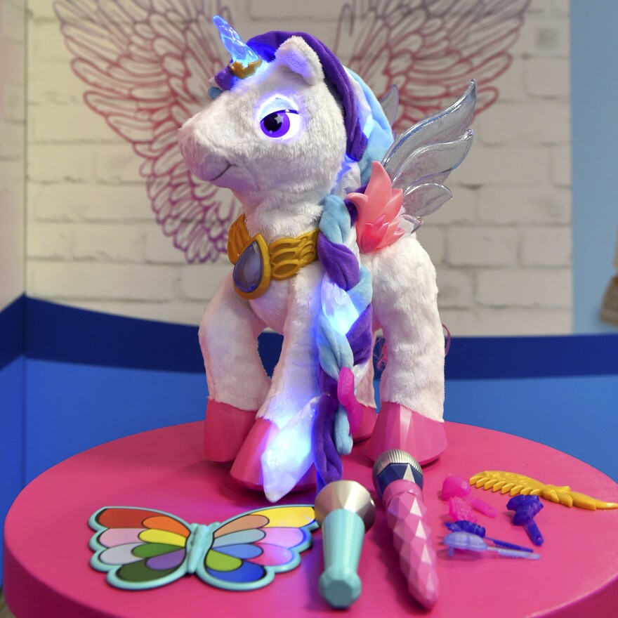 A unicorn and her accessories at the North American International Toy Fair in New York in February.
