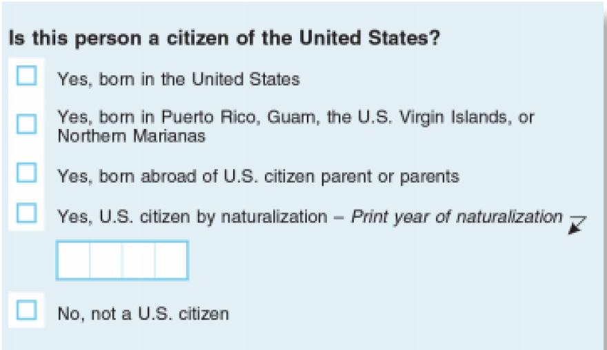 Citizenship question as it would appear on the 2020 Census form