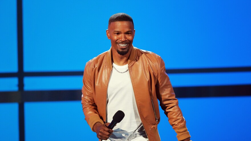 Host Jamie Foxx onstage at the 2018 BET Awards at Microsoft Theater on Sunday in Los Angeles.