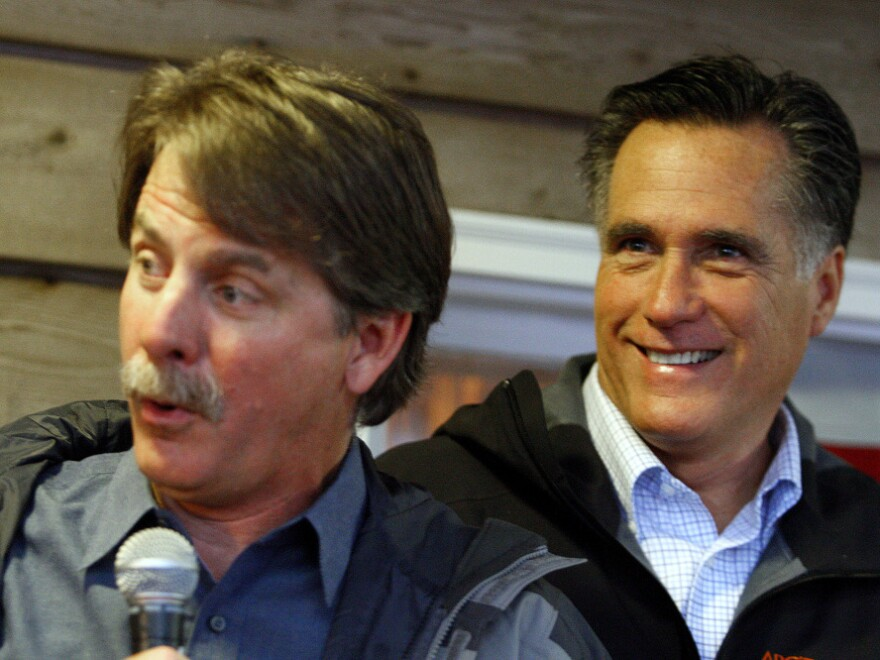 You know you're campaigning in the South if you've got comedian Jeff Foxworthy by your side. Foxworthy introduces Mitt Romney at a campaign stop at the Whistle Stop Cafe, Monday, in Mobile, Ala.