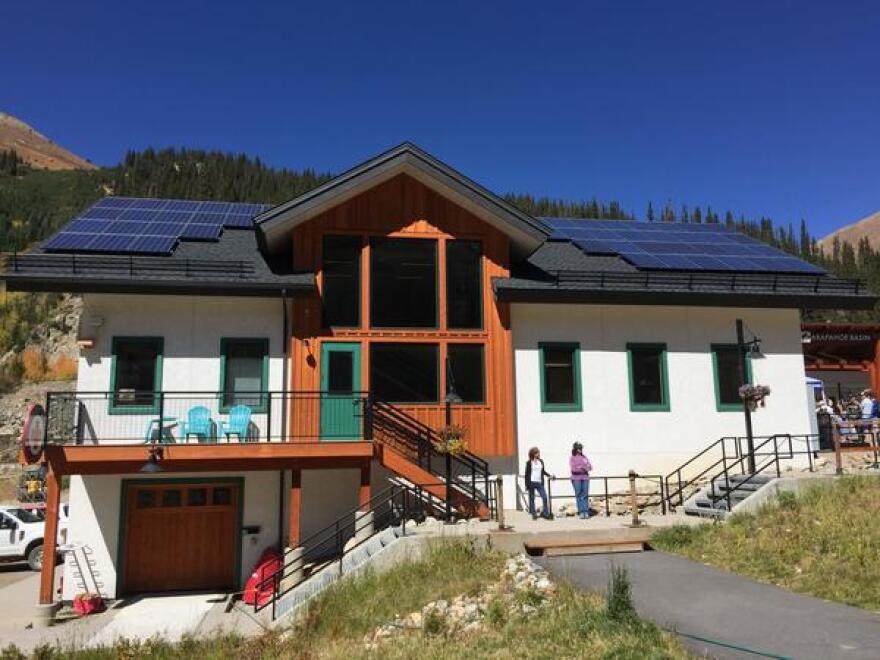 Solar panel array on the roof of a building at Arapahoe Basin Ski Area.