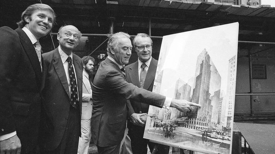 Donald Trump stands with New York Mayor Ed Koch, Gov. Hugh Carey and Robert T. Dormer of the Urban Development Corp. at the launching ceremony of the New York Hyatt Hotel in June 1978.