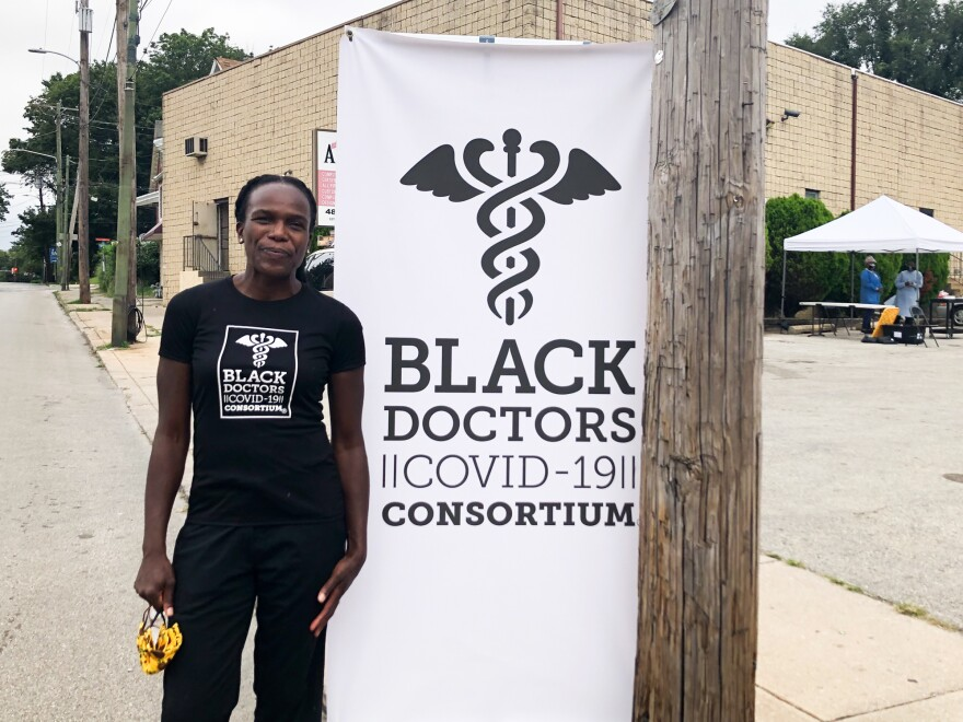 Stanford at a Black Doctors Consortium testing site in Darby, Pa., on Sept. 9. Stanford has largely self-funded the testing initiative.
