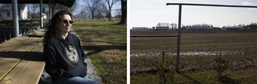 Left: Vicky Treffert sits at the park next door to her house. Right: From the park, oil tanks are visible across a field. (Jan. 24, 2017)