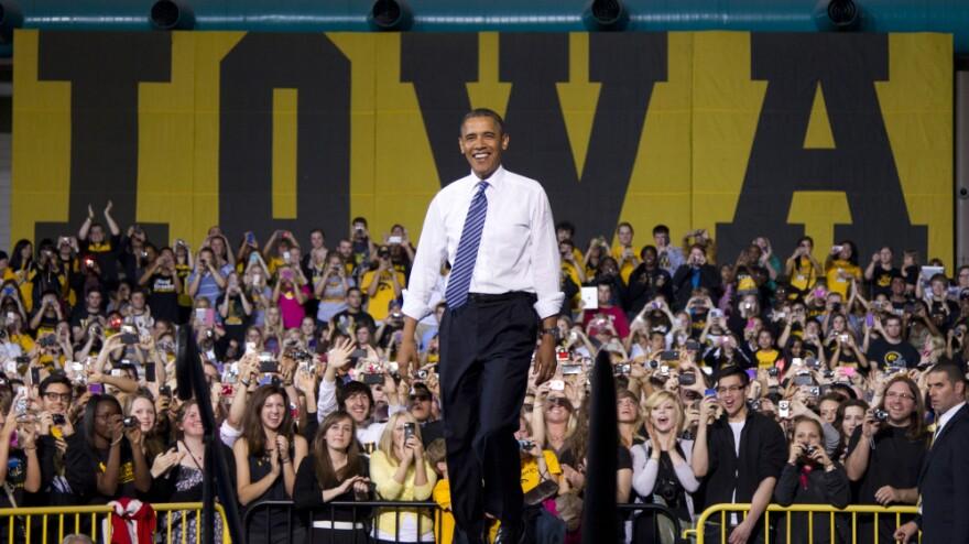 President Obama arrives to speak at the University of Iowa in Iowa City on Wednesday.