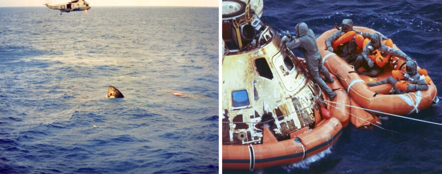 The Apollo 11 command module splashed down on July 24, 1969. (Left) A helicopter hovers over the inverted command module shortly after splashdown. (Right) Astronauts Neil Armstrong, Michael Collins and Buzz Aldrin await pickup from their life raft.