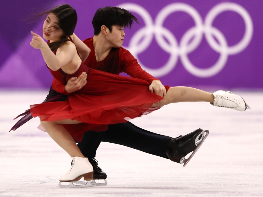 """""""It feels like gold. It's unbelievable,"""" Alex Shibutani said, after he and his sister, Maia, won bronze in the ice dance free skate."""