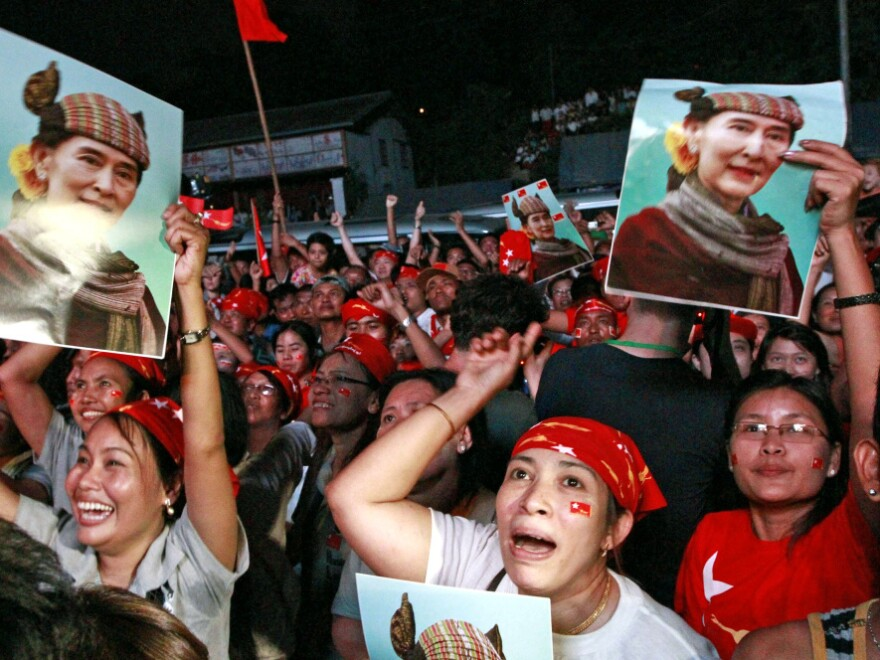 It's still not clear how far Myanmar's rulers will go with the changes they have introduced. But the opposition has seized on the opportunity to participate openly in politics. Here, supporters of Aung San Suu Kyi cheer after the party's announcement on April 1 that she won a seat in parliament.