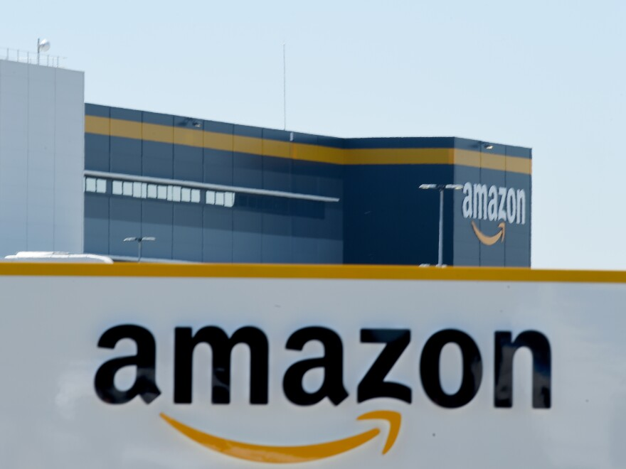 Amazon's logo appears on a warehouse in France, on May 19.