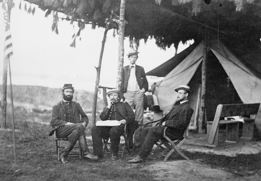 """Officers of the 5th U.S. Cavalry near Washington, D.C., in 1865. Julia Ward Howe was inspired to write """"The Battle Hymn of the Republic"""" after a visit with Union troops in the thick of the Civil War."""