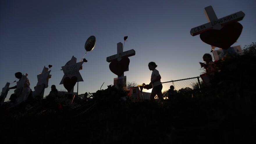 A makeshift memorial outside Marjory Stoneman Douglas High School.
