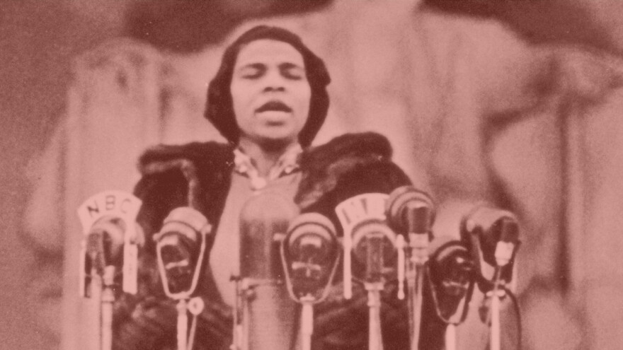 Opera singer Marian Anderson  performs on the steps of the Lincoln Memorial in 1939