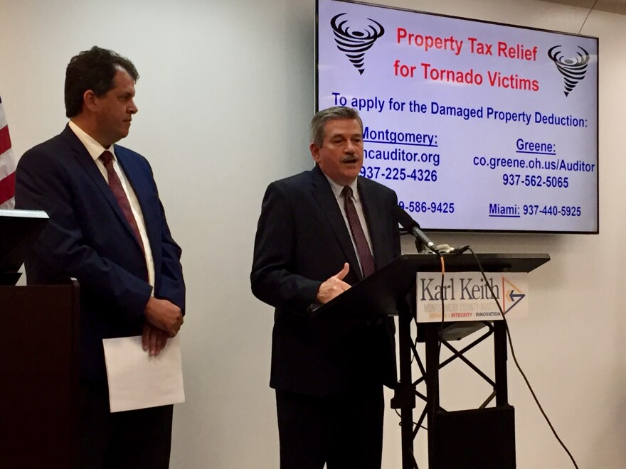 Greene and Montgomery County Auditor officials are urging people with storm-damaged property to apply for help under a state tax-relief program.