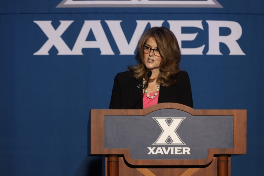 Colleen Hanycz, Ph.D., makes her first appearance at Xavier University. She takes over as president July 1.