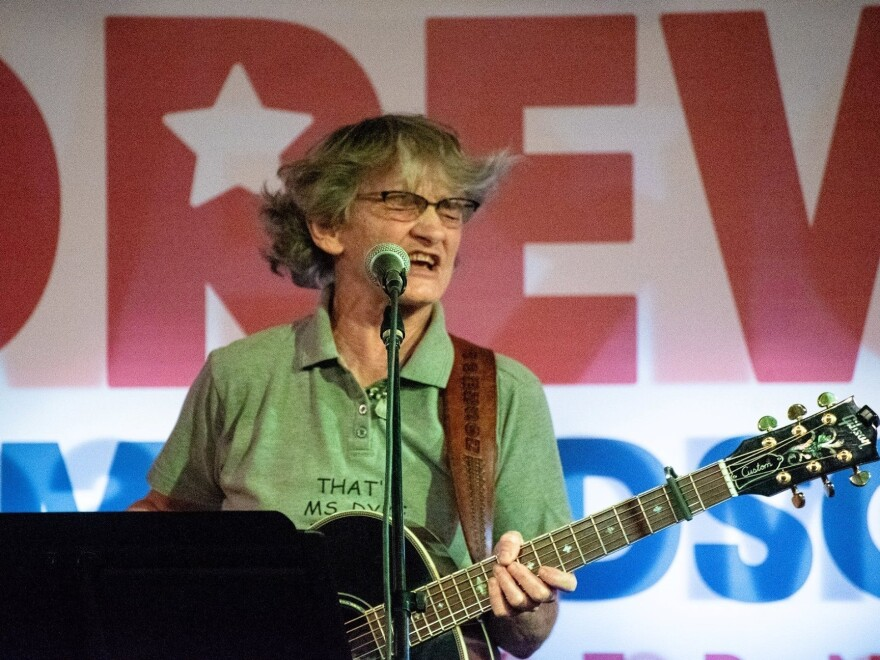 Peggy Johnson performs at a 2018 Blue Door political benefit.