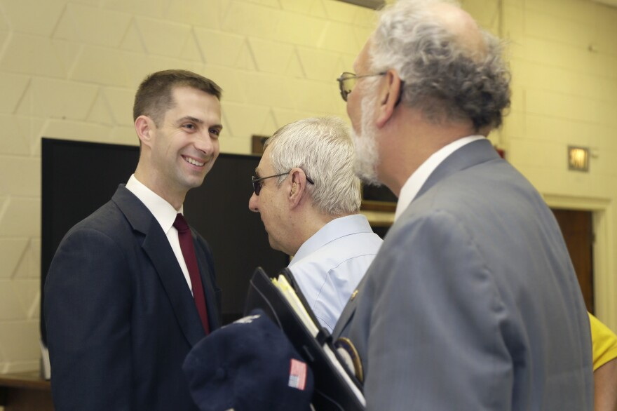 Rep. Tom Cotton, R-Ark., greets members of the Little Rock Lions Club in April 2014.