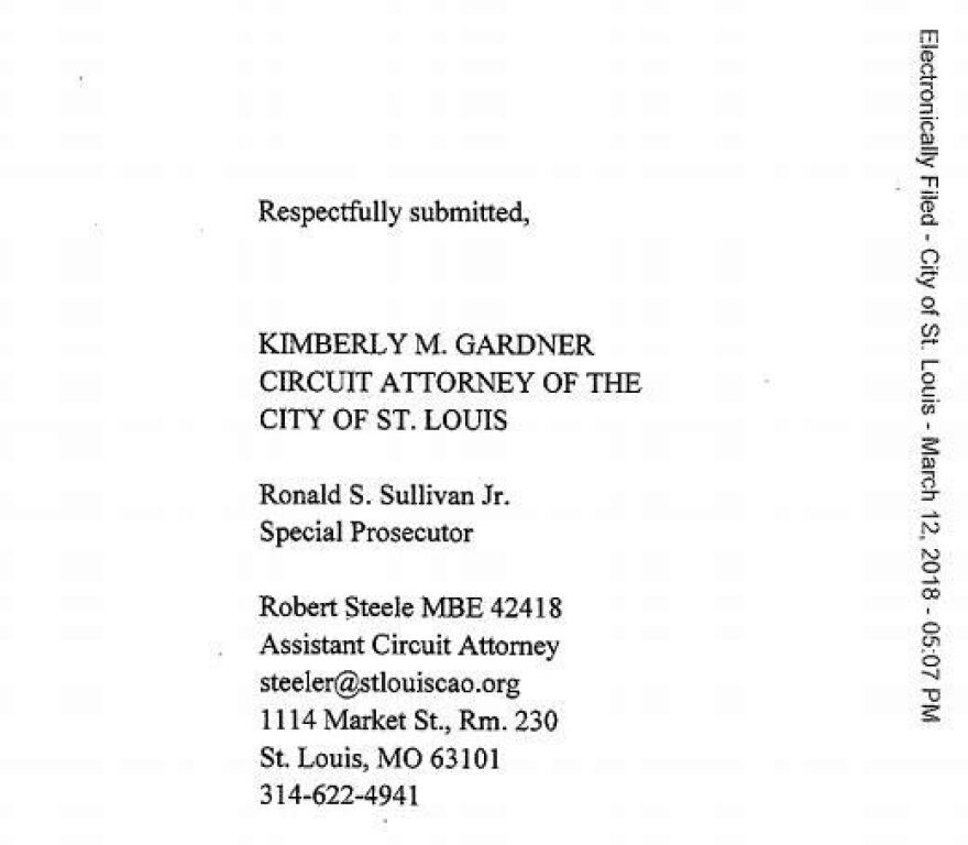 A screenshot from a court document filed March 12, 2018, showed Ronald S. Sullivan using the title special prosecutor, which defense attorneys claim violates state law.