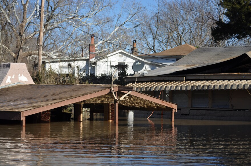 A carport next to Jeff Steinke's home, as seen from a kayak.
