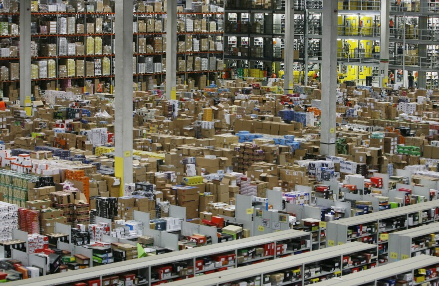 Workers hustle in one of Amazon's warehouses, in Leipzig, Germany, ahead of the 2009 holiday shopping season.