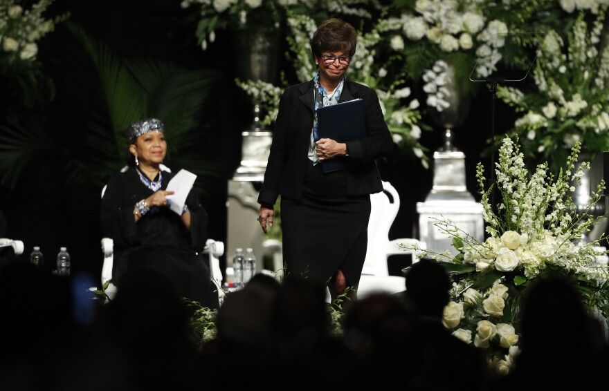 "Valerie Jarrett, speaking on behalf of President Obama during the memorial service, noted the love people had for the champ, saying, ""You couldn't have made him up — and yes, he was pretty, too."""