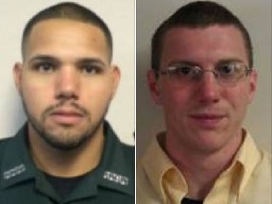 Sgt. Noel Ramirez (left) and Deputy Taylor Lindsey were shot and killed after sitting down to eat at a Chinese restaurant in Gilchrist County, Fla.