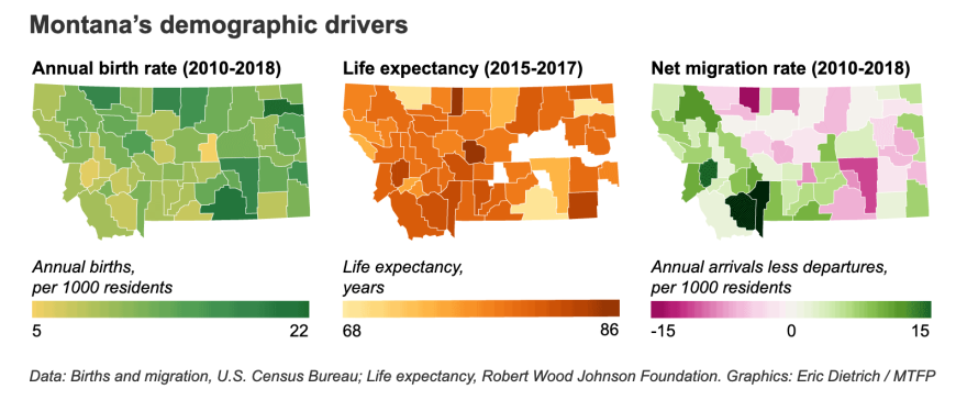 These graphs show the annual birth rate, life expectancy, and net migration rate throughout Montana.