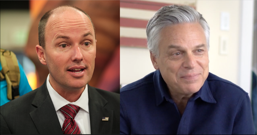 A photo of Spencer Cox and a photo of Jon Huntsman cropped side-by-side.