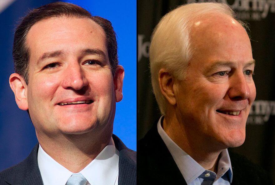 Republican U.S. Sens. Ted Cruz, left, and John Cornyn