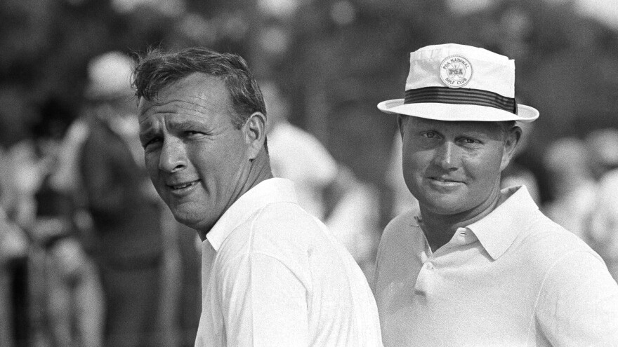 Palmer (left) and his friend and often-rival Jack Nicklaus, after winning a team event in West Palm Beach, Fla., in 1966.