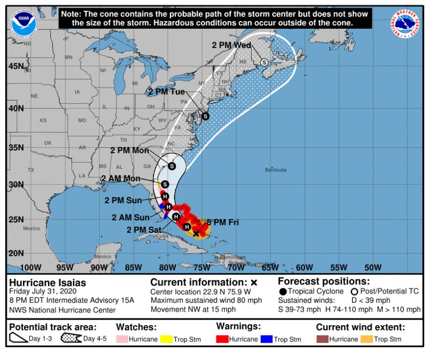 map of hurricane track